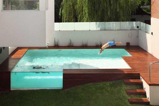 piscina de sobrepor com vidro